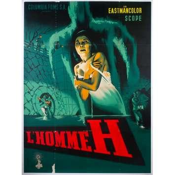 L'HOMME H Affiche de cinéma entoilée - 120x160 cm. - 1958 - Yumi Shirakawa, Ishiro Honda