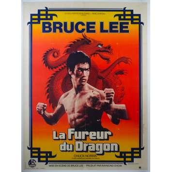 LA FUREUR DU DRAGON Affiche de cinéma entoilée - 120x160 cm. - 1974 - Bruce Lee, Chuck Norris, Bruce Lee