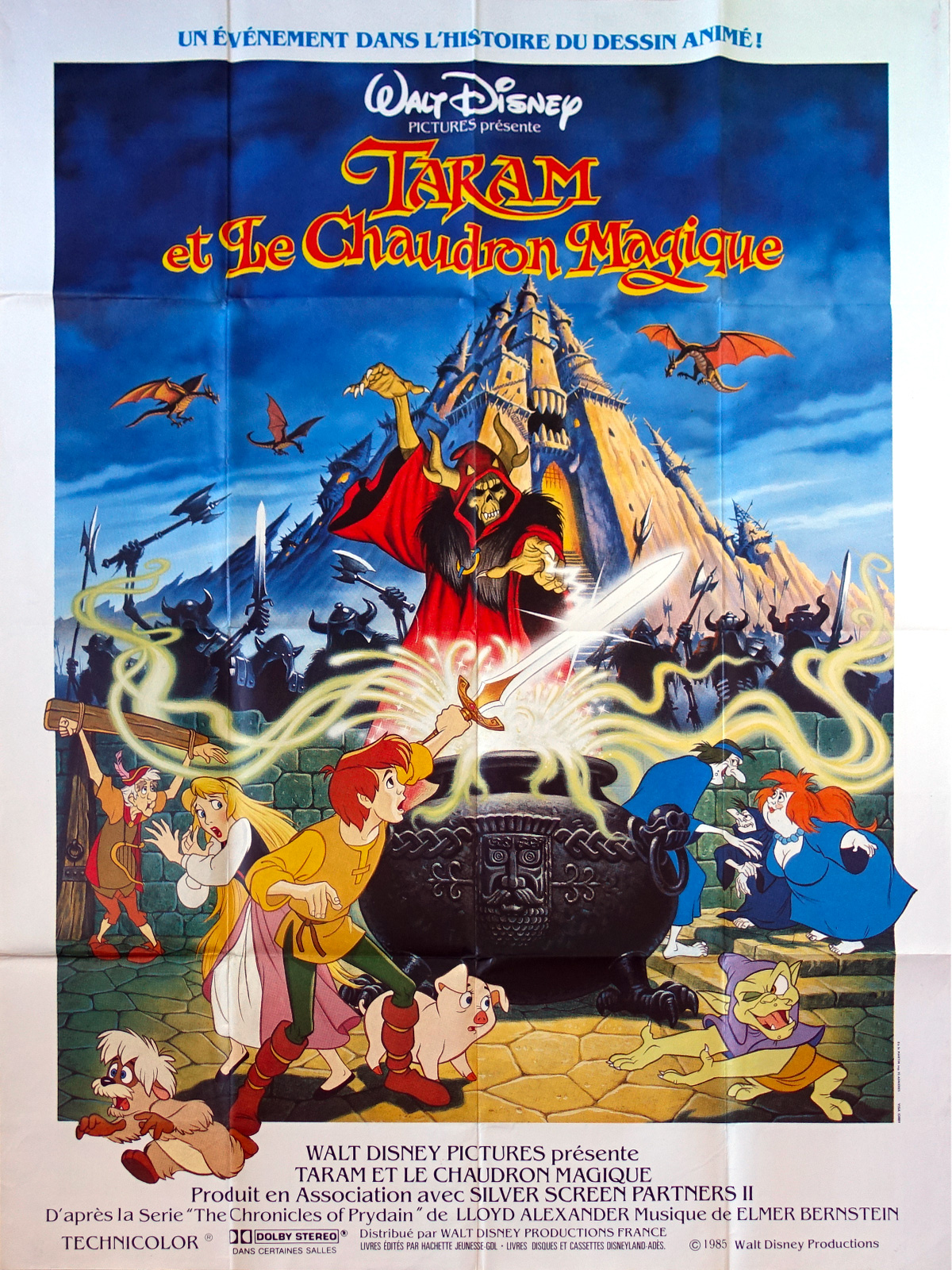 The Black Cauldron Original Movie Poster 47x63 In 1985 Walt Disney Freddie Jones