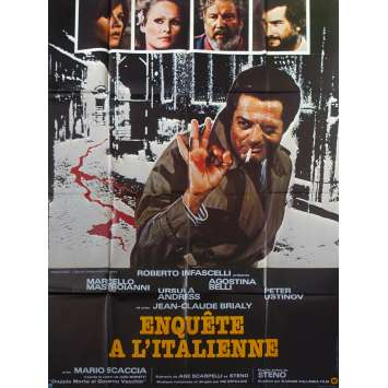 ENQUETE A L'ITALIENNE Affiche de film - 120x160 cm. - 1977 - Marcello Mastroianni, Steno