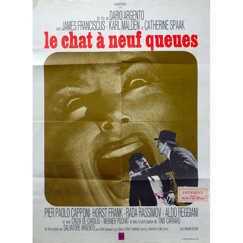 LE CHAT A NEUF QUEUES Affiche de film - 60x80 cm. - 1971 - James Franciscus, Dario Argento