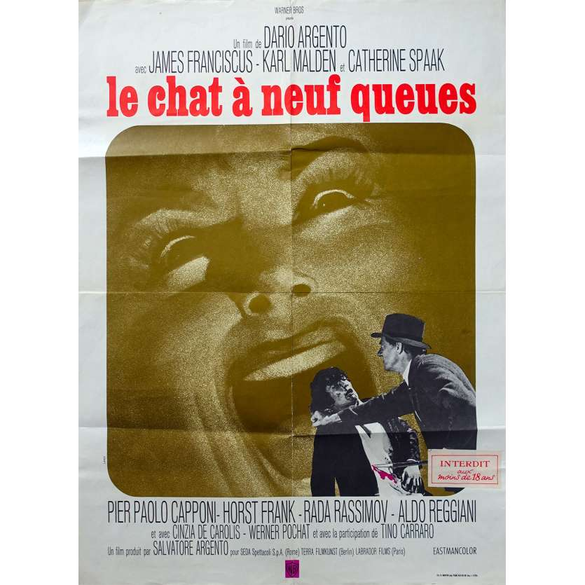 THE CAT O'NINE TAILS Original Movie Poster - 23x32 in. - 1971 - Dario Argento, James Franciscus