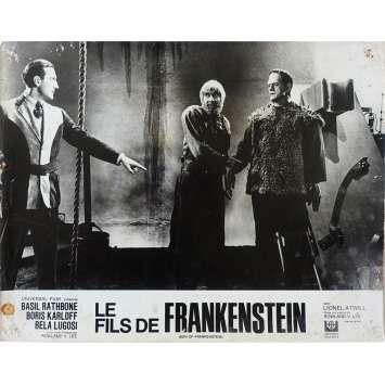 SON OF FRANKENSTEIN Original Lobby Card N03 - 10x12 in. - R1960 - Rowland V. Lee, Boris Karloff, Bela Lugosi