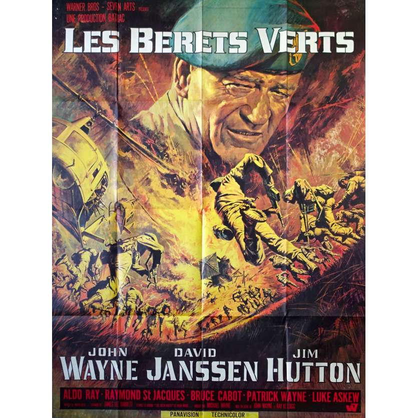 THE GREEN BERETS Movie Poster 47x63 in. French - 1968 - Ray Kellog, John Wayne