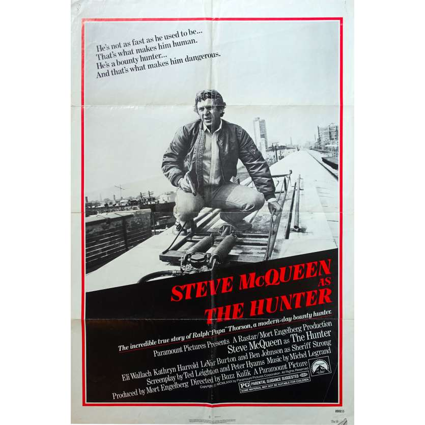 THE HUNTER Original Movie Poster - 27x40 in. - 1980 - Buzz Kulik, Steve McQueen
