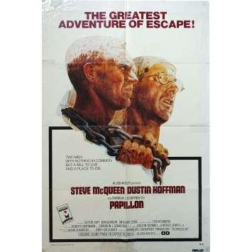 PAPILLON Original Movie Poster - 27x40 in. - 1973 - Franklin J. Schaffner, Steve McQueen