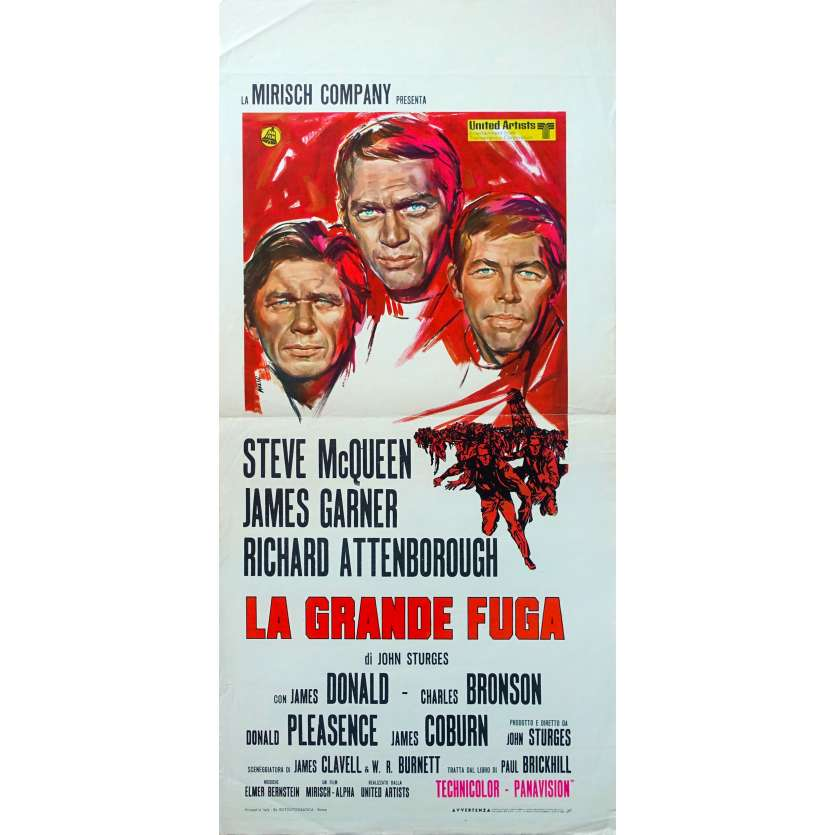 THE GREAT ESCAPE Original Movie Poster - 13x28 in. - 1963 - John Sturges, Steve McQueen
