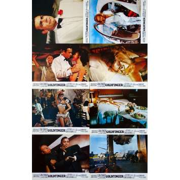 GOLDFINGER Original Lobby Cards x8 - 9x12 in. - R1970 - Guy Hamilton, Sean Connery