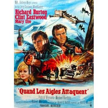 WHERE EAGLES DARE Original Movie Poster - 15x21 in. - 1968 - Brian G. Hutton, Clint Eastwood, Richard Burton