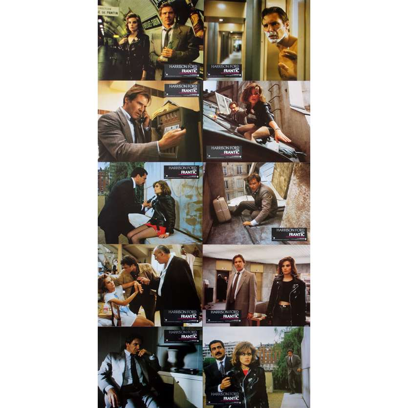 FRANTIC French Lobby Cards x10 - 9x12 in. - 1988 - Roman Polanski, Harrison Ford
