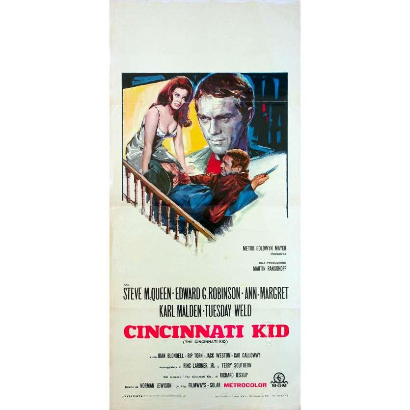THE CINCINNATI KID Italian Movie Poster - 13x28 in. - 1965 - Norman Jewison, Steve McQueen