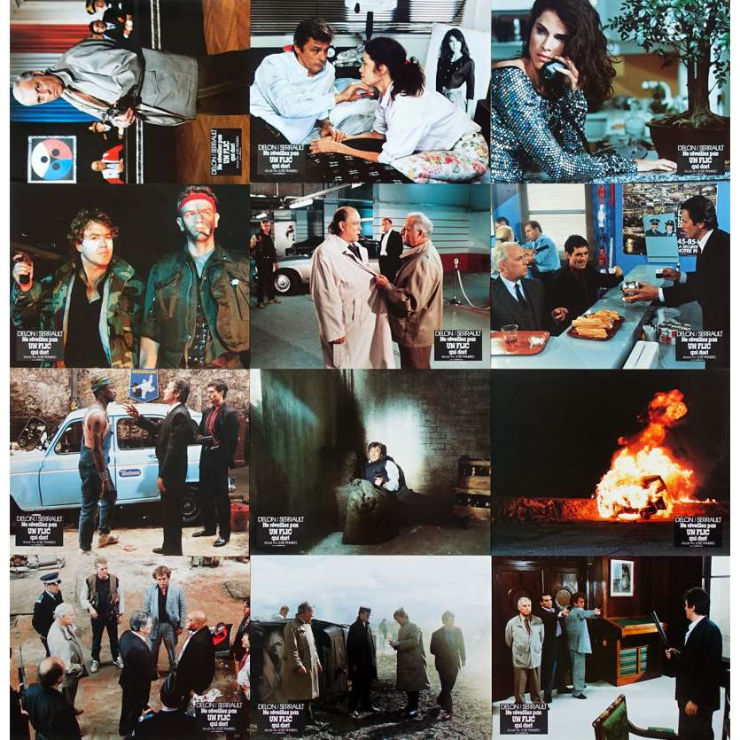 LET SLEEPING COPS LIE French Lobby Cards x12 - 9x12 in. - 1988 - José Pinheiro, Alain Delon