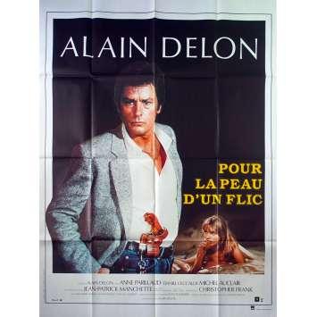 FOR A COP'S HIDE French Movie Poster - 47x63 in. - 1981 - Alain Delon, Alain Delon