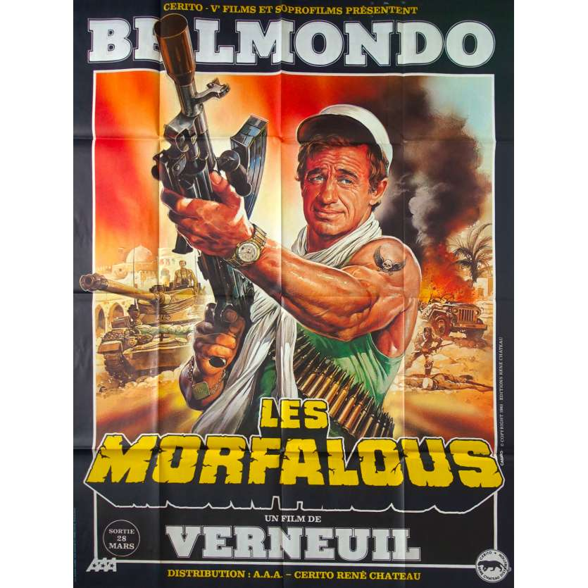 LES MORFALOUS Movie Poster Casaro 47x63 in. French - 1984 - Henri Verneuil, Jean-Paul Belmondo