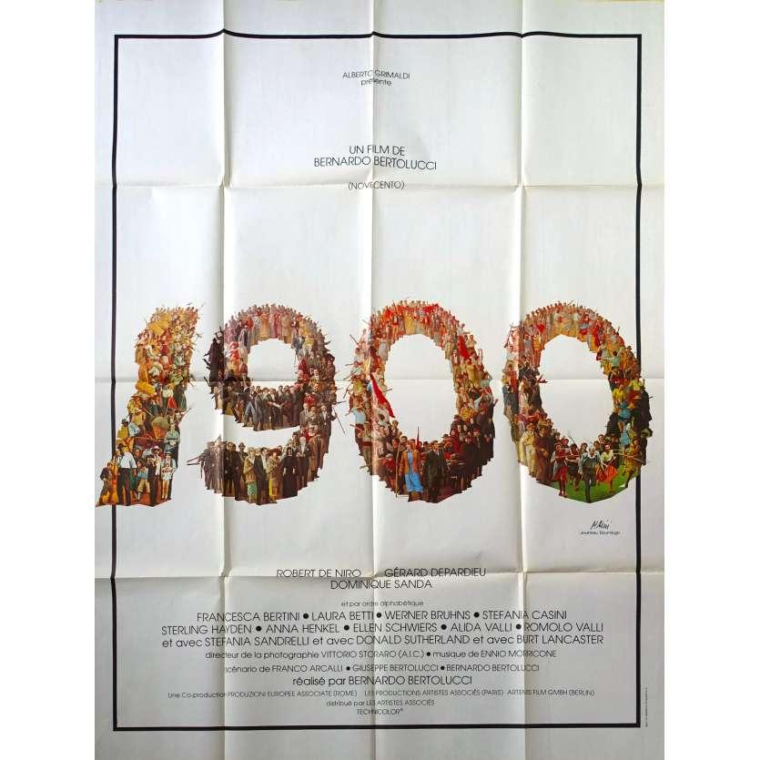 1900 Affiche de film - 120x160 cm. - 1976 - Robert de Niro, Bernardo Bertolucci