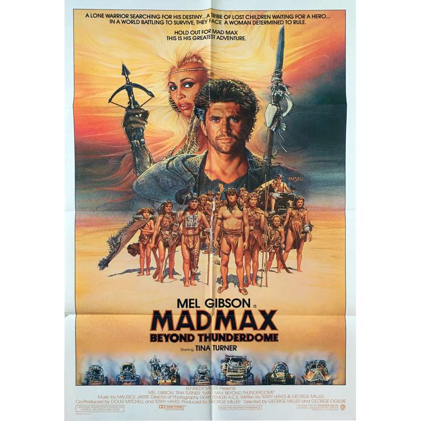 MAD MAX BEYOND THUNDERDOME US Movie Poster - 27x40 in. - 1985 - George Miller, Mel Gibson, Tina Turner