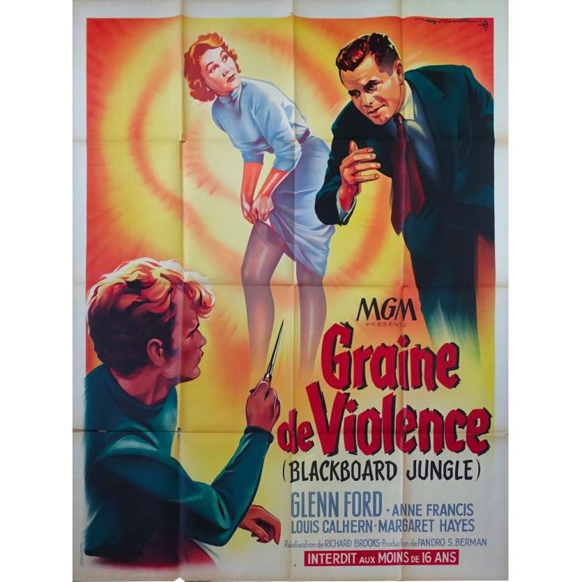GRAINE DE VIOLENCE Affiche de film 120x160 - 1955 - Glenn Ford, Blackboard jungle