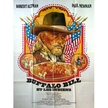 BUFFALO BILL AND THE INDIANS French Movie Poster - 47x63 in. - 1976 - Robert Altman, Paul Newman