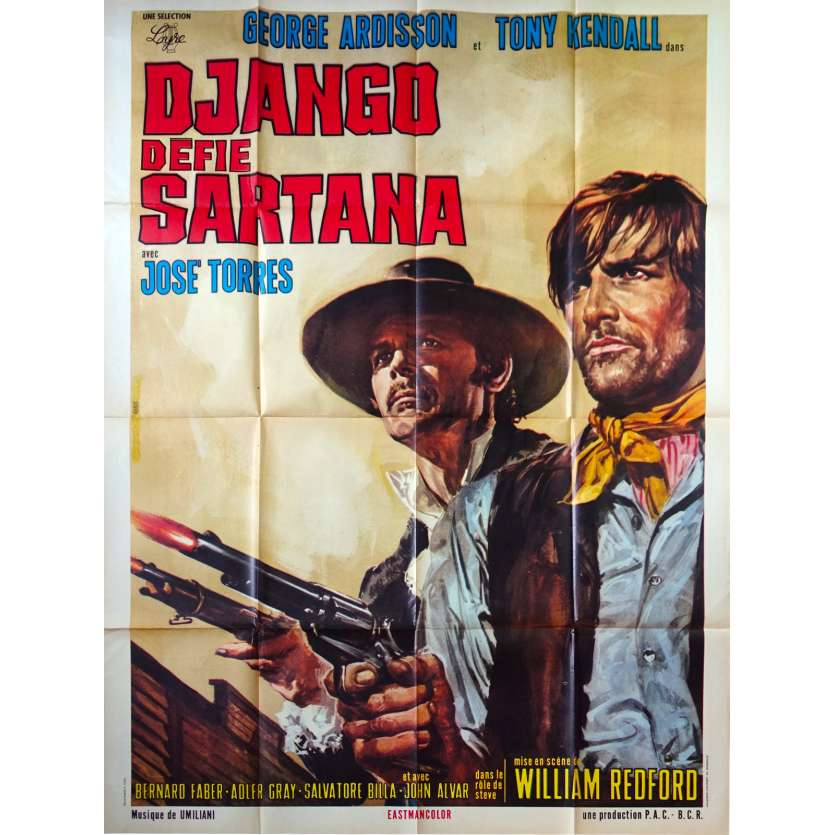 DJANGO DEFIES SARTANA French Movie Poster - 47x63 in. - 1970 - Pasquale Squitieri, George Ardisson