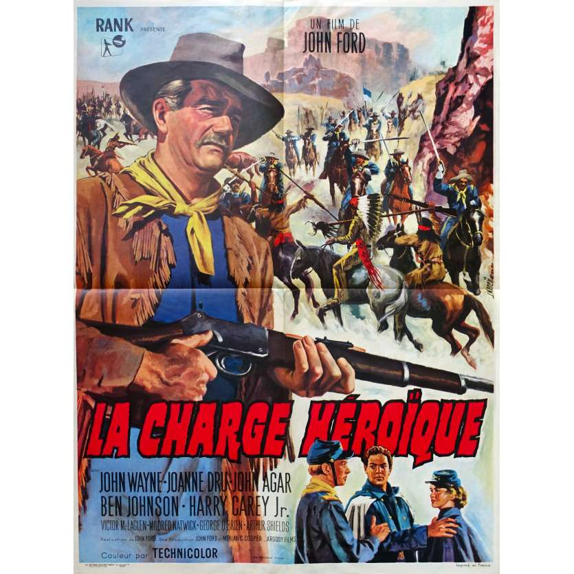 SHE WORE A YELLOW RIBBON French Movie Poster - 23x32 in. - R1960 - John Ford, John Wayne