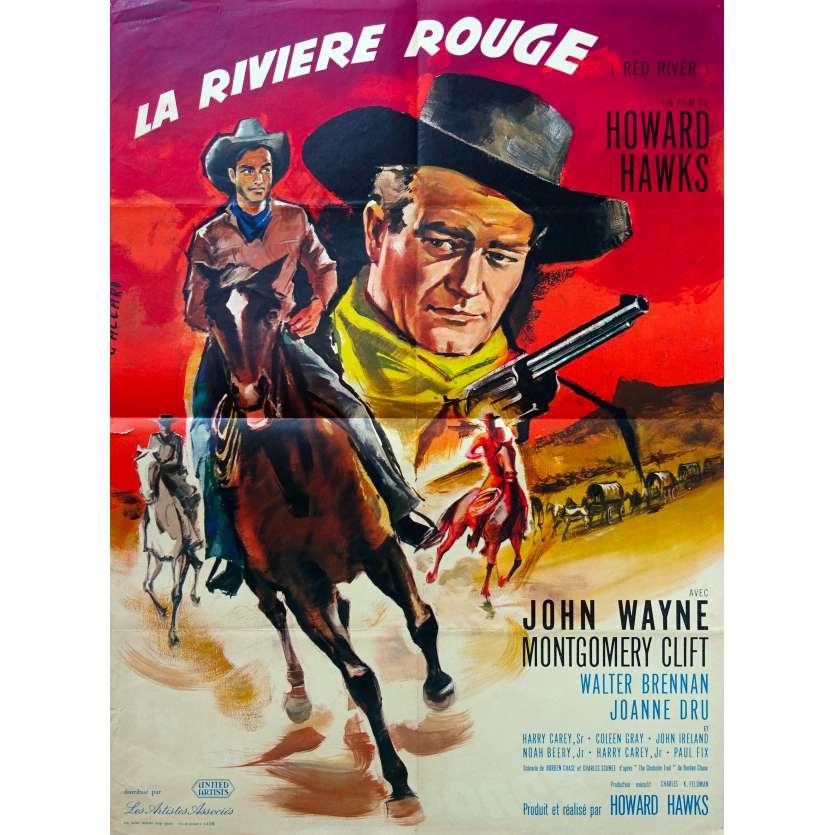 RED RIVER French Movie Poster - 23x32 in. - R1960 - Howard Hawks, John Wayne