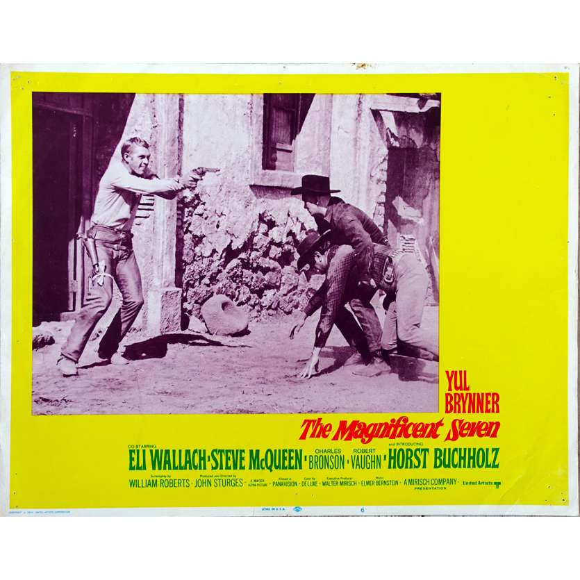 LES SEPT MERCENAIRES Photo de film N06 - 28x36 cm. - R1980 - Steve McQueen, Yul Brynner