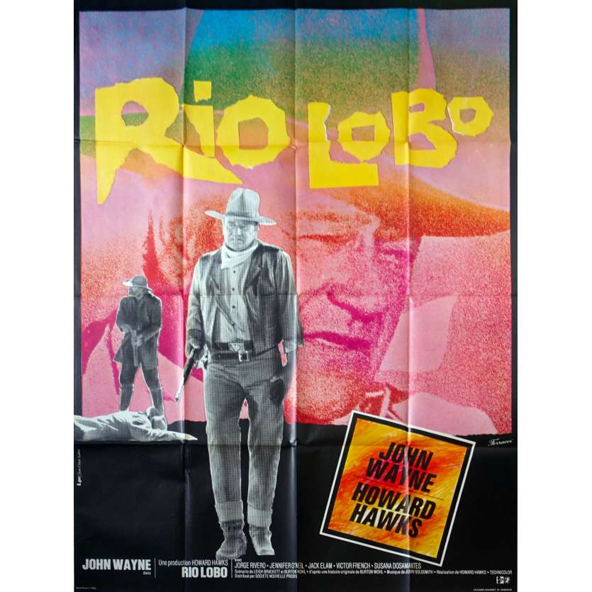 RIO LOBO French Movie Poster - 47x63 in. - 1970 - Howard Hawks, John Wayne