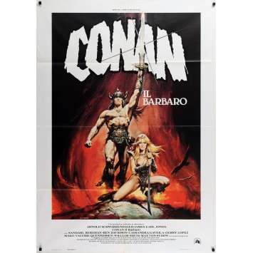 CONAN THE BARBARIAN Italian Movie Poster - 39x55 in. - 1982 - John Milius, Arnold Schwarzenegger