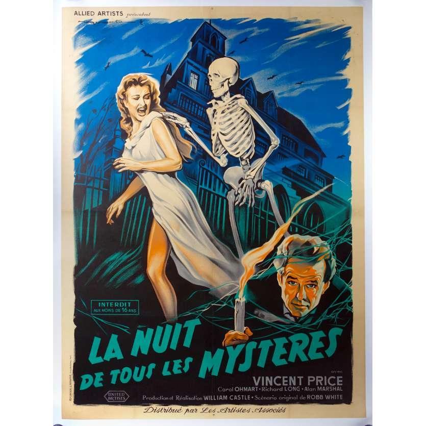 LA NUIT DE TOUS LES MYSTERES Affiche de Cinéma Originale 1959 Vincent Price
