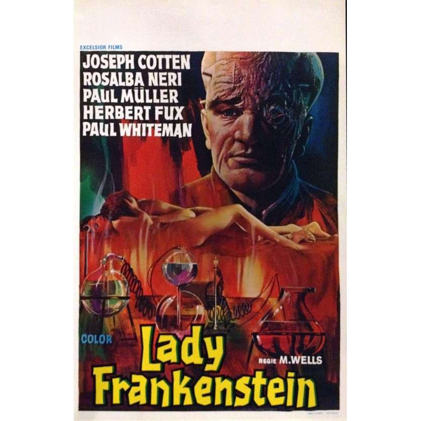 LADY FRANKENSTEIN Belgian Movie Poster 14x22 - 1971 - Aureliano Luppi, Joseph Cotten