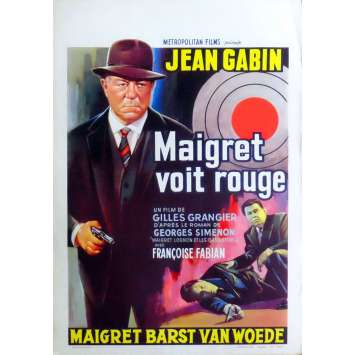 MAIGRET SEES RED Belgian Movie Poster 14x22 - 1963 - Gilles Grangier, Jean Gabin