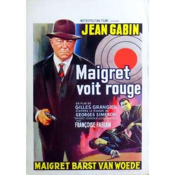 MAIGRET SEES RED Belgian Movie Poster 14x22 - 1963 - Gilles Grangier, Jean Gabin