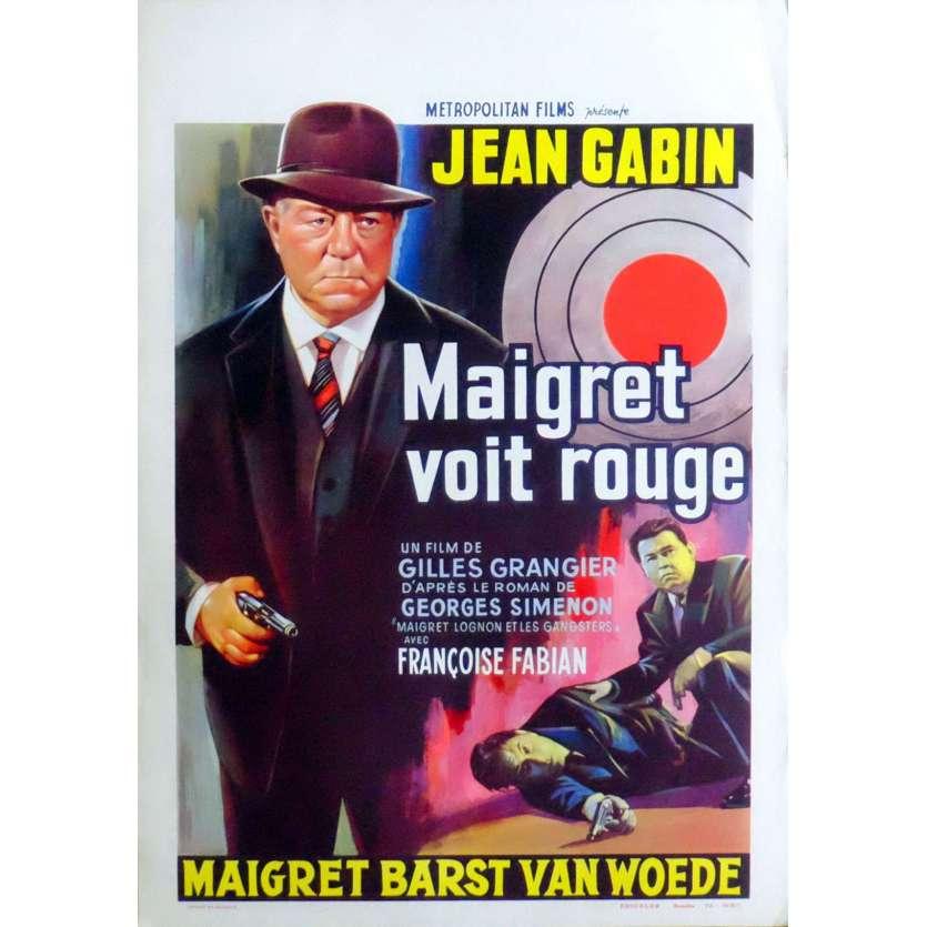 MAIGRET VOIT ROUGE Affiche de film 35X55 - 1963 - Jean Gabin, Gilles Grangier
