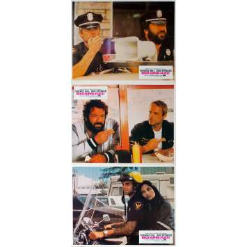CRIME BUSTERS Original Lobby Cards x3 - 9x12 in. - 1977 - Sergio Corbucci, Terence Hill, Bud Spencer