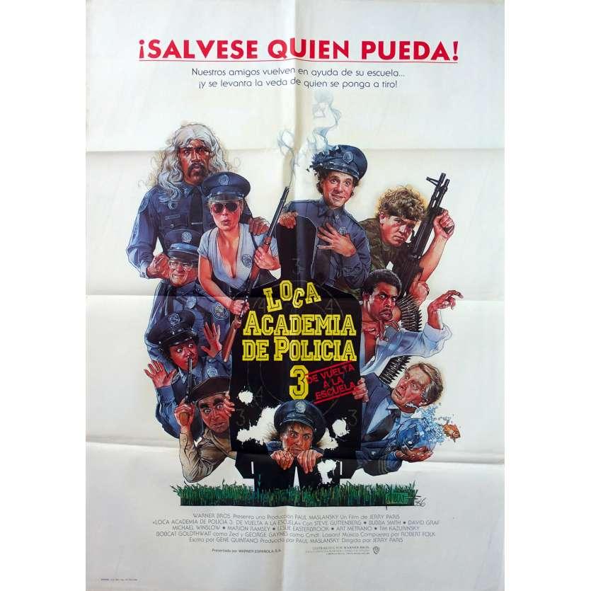 POLICE ACADEMY III Original Movie Poster - 29x40 in. - 1986 - Jerry Paris, Steve Guttenberg