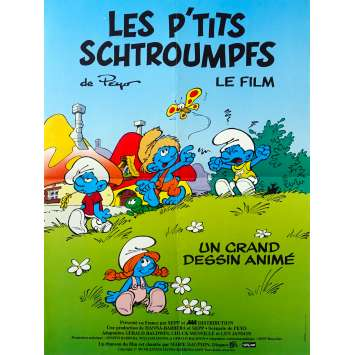 LES P'TITS SCHTROUMPFS Affiche de film - 40x60 cm. - 1988 - Albert Augier, William Hanna