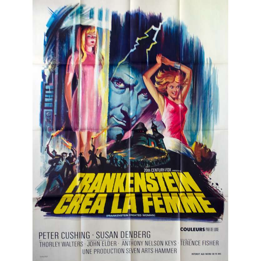FRANKENSTEIN CREATED WOMAN Movie Poster - 1967 - Peter Cushing, Hammer