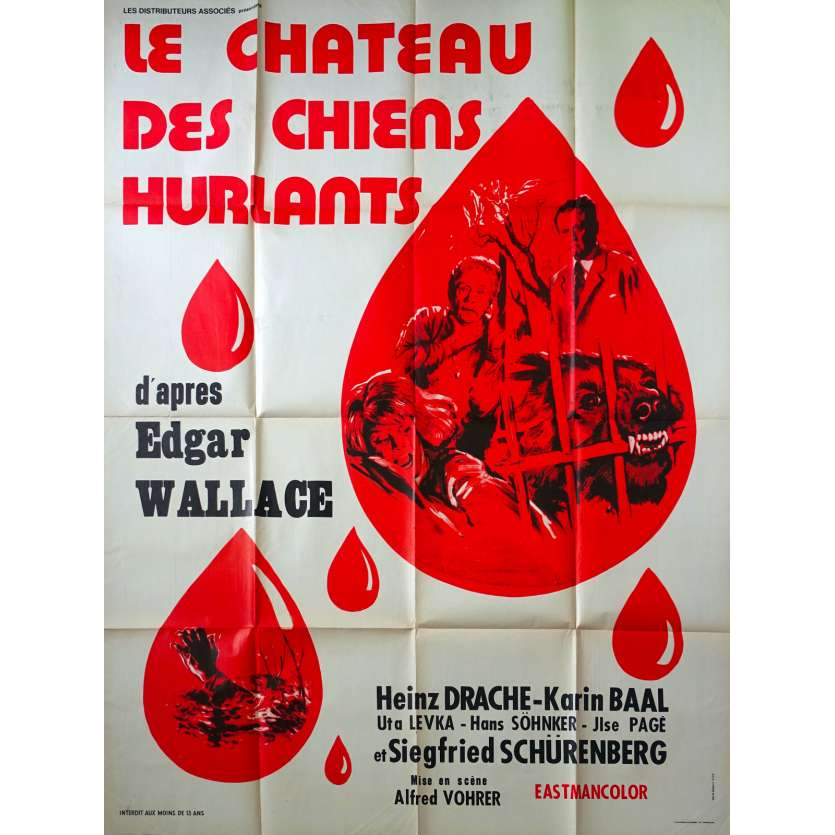 THE MONSTER OF BLACKWOOD CASTLE French Movie Poster 47x63 - 1968 - Edgar Wallace, Heinz Drache