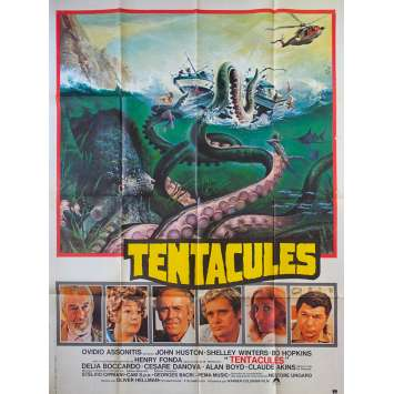 TENTACULES Affiche de film - 120x160 cm. - 1977 - John Huston, Ovidio G. Assonitis