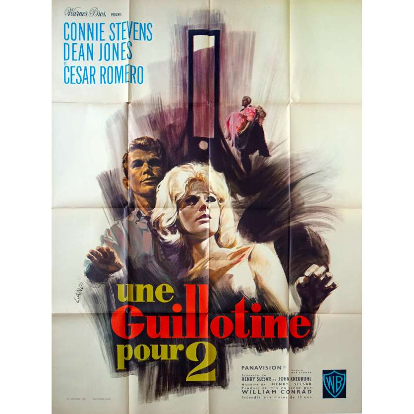 TWO ON A GUILLOTINE French Movie Poster 47x63 - 1965 - William Conrad, Connie Stevens
