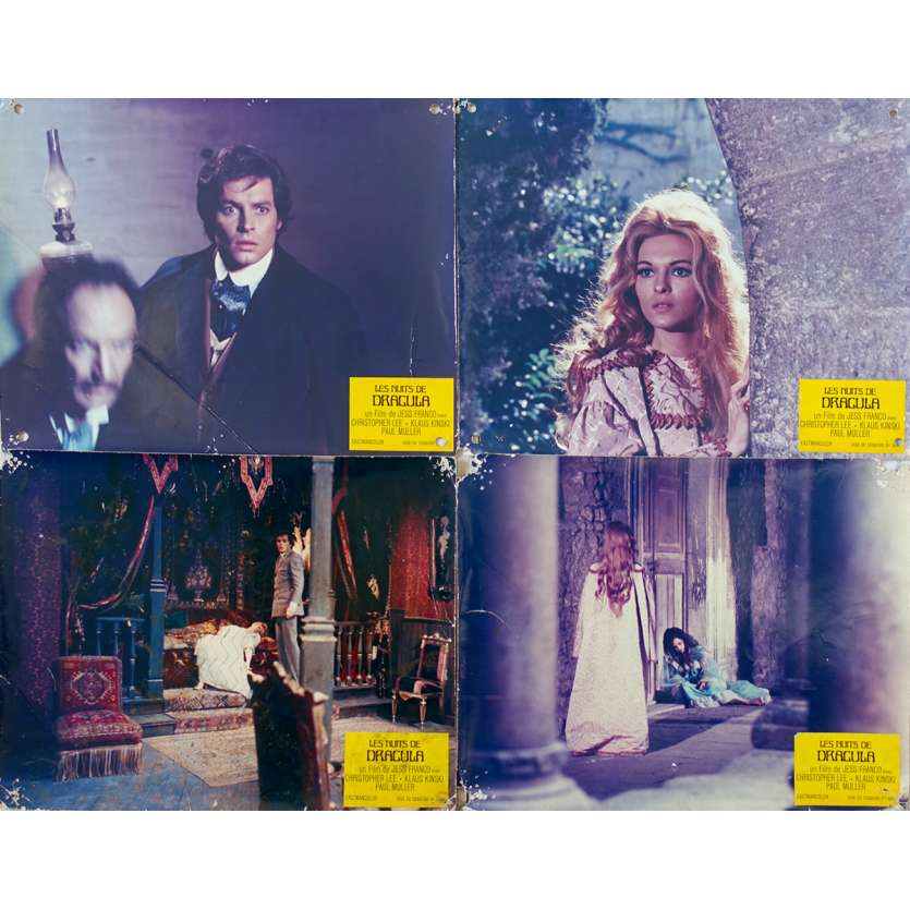 COUNT DRACULA Original Lobby Cards x4 - 9x12 in. - 1970 - Jess Franco, Christopher Lee