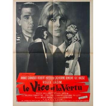 VICE AND VERTUE Original Movie Poster - 23x32 in. - 1963 - Roger Vadim, Catherine Deneuve