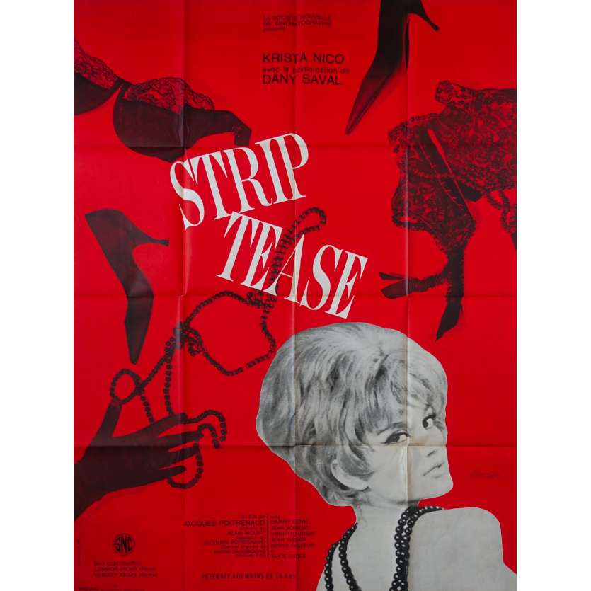 STRIP TEASE French Movie Poster 47x63 - 1963 - Gainsbourg, sexy Dany Saval