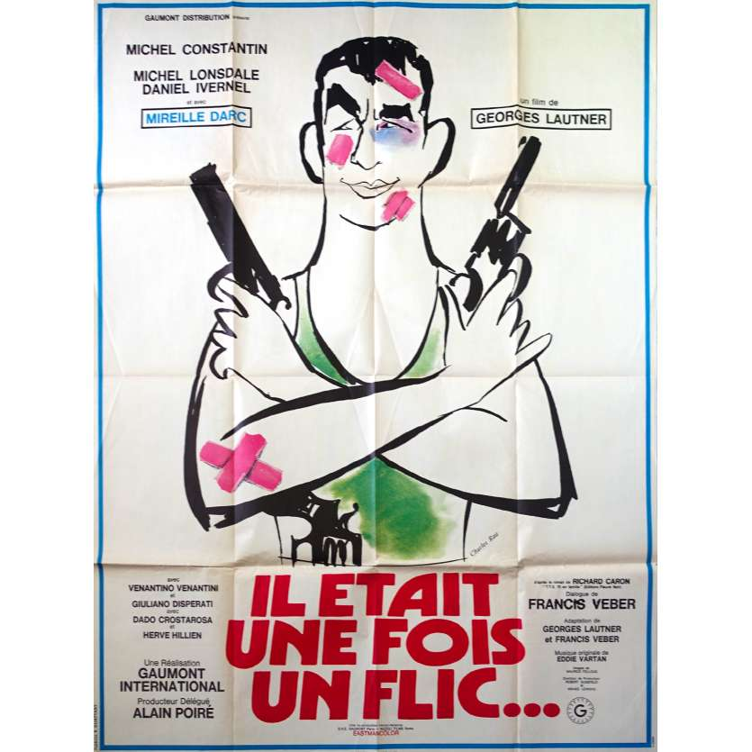 THERE ONCE A COP French Movie Poster 47x63 - 1972 - Georges Lautner, Mireille Darc