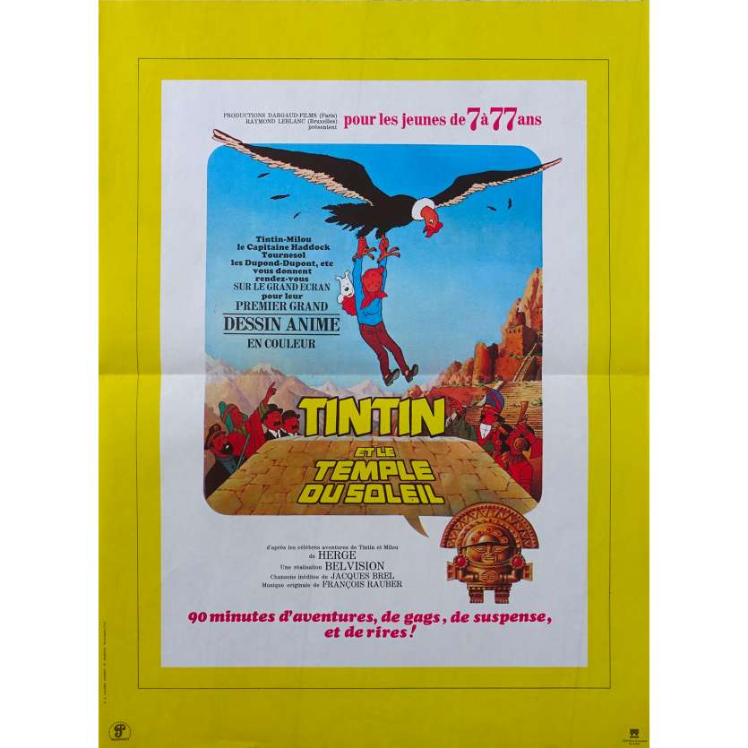 TIN AND THE TEMPLE OF THE SUN Original Movie Poster - 15x21 in. - 1969 - Hergé, Claude bertrand