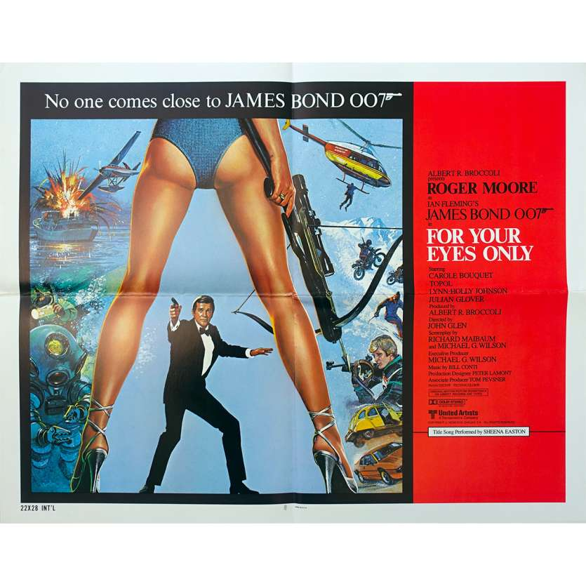 FOR YOUR EYES ONLY Original Movie Poster - 21x28 in. - 1981 - John Glen, Roger Moore