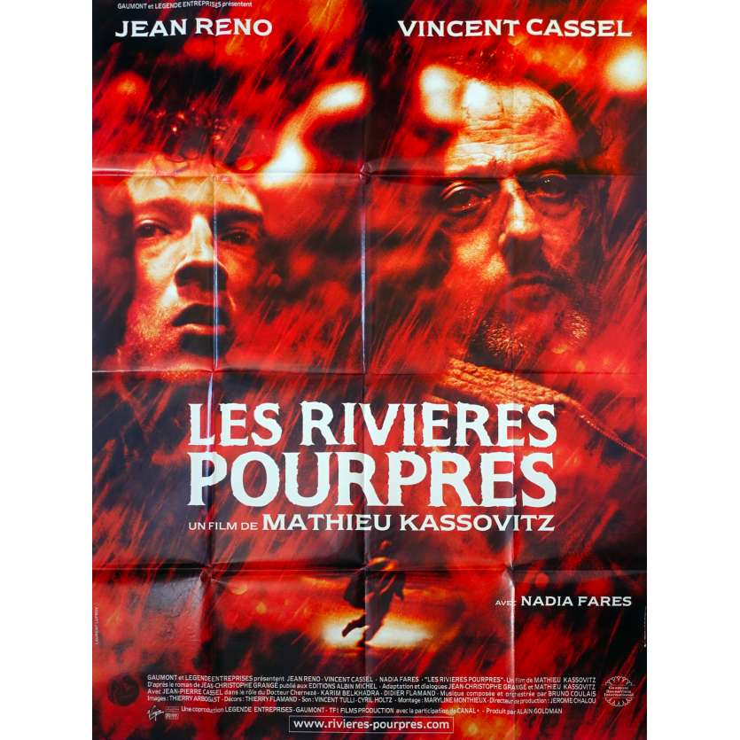 LES RIVIERES POURPRES French Movie Poster 47x63 ''00 jean reno, Vincent Cassel '