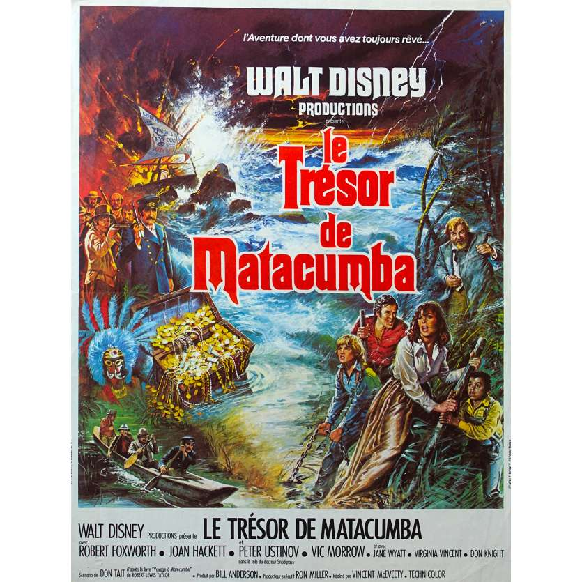 TREASURE OF DE MATACUMBE French Movie Poster 15x21 '76 Disney, Peter Ustinov