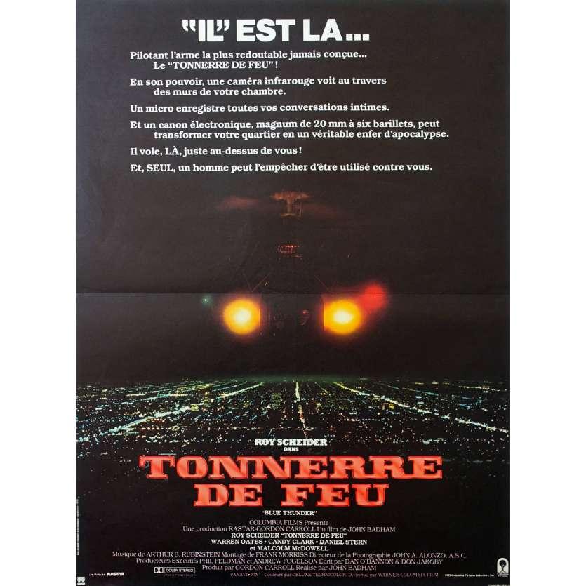 TONNERRE DE FEU Affiche de film 40x60 - 1983 - Roy Sheider John Badham