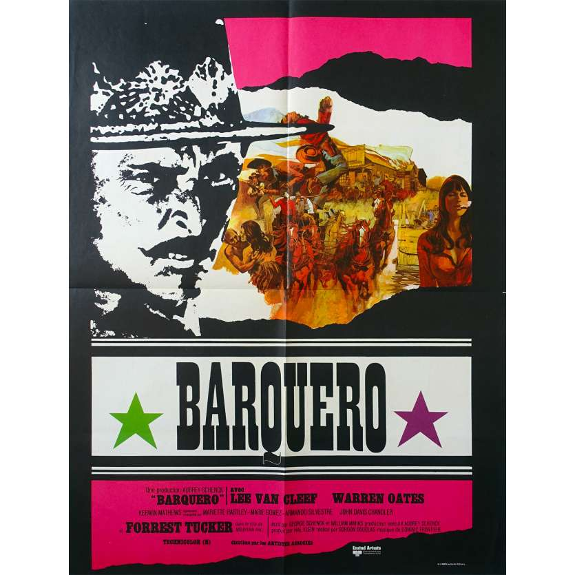 BARQUERO French Movie Poster 23x31 '70 Lee Van Cleef, Warren Oates